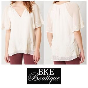 BKE Boutique Ivory White Beaded V-Neck Top Small S